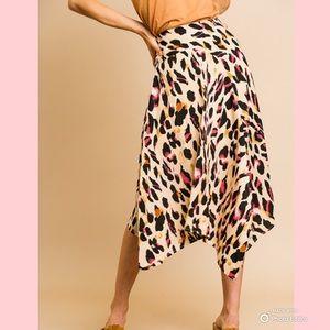 Animal Print High Waist Midi Skirt Asymmetrical